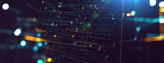 Abstract tech and science background. 3d illustration. Dots and lines geometric graphics.Cyberspace and internet concept. Fotobehang