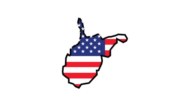 West Virginia map flag symbol U.S. state vector illustration
