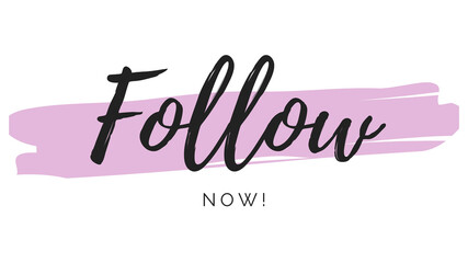 Follow text social media calligraphy pink feminine simple design