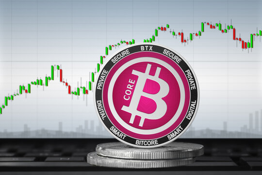 Bitcore BTX cryptocurrency; Bitcore coin on the background of the chart