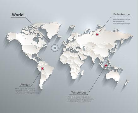 World political map blue white  vector