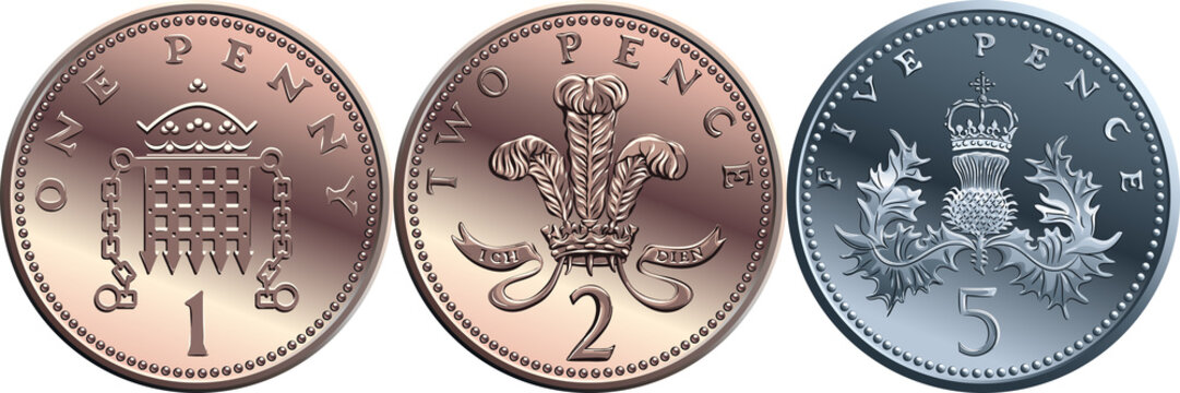 Vector Set british coin one, two, five pence, reverses with Portcullis and crown, plume of ostrich feathers within coronet and Thistle royally crowned
