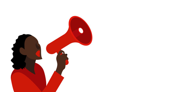 Black Lives Matter concept. Woman protester with megaphone on white isolated background. Person holds a loudspeaker in hand. Template for banner, poster.