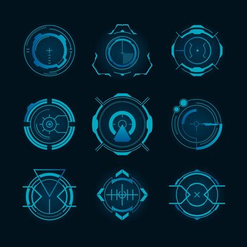Futuristic target set. Hologram radar, gun aim, circle, sniper crosshair, focus. Vector illustrations for weapon, shooting game, innovation, military, HUD technology concept