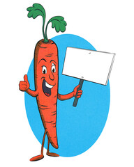 Funny, retro carrot cartoon character in halftone effect on oval blue background element holding a blank sign and giving thumbs up. isolated on white