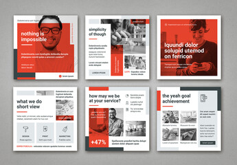 Light Gray and Red Square Social Media Post Layouts