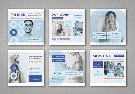 Light Blue and Gray Square Social Media Post Layouts
