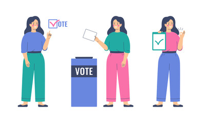 Voting and Election concept. Girl is putting paper ballot in the ballot box. Women activists are calling for votes. Pre-election campaign.