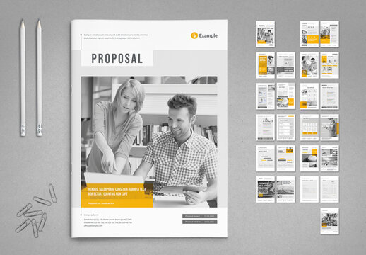 Agency Proposal Layout in Light Gray with Yellow Accents