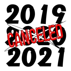 Door stickers Draw 2020 Canceled Year humorous text Vector