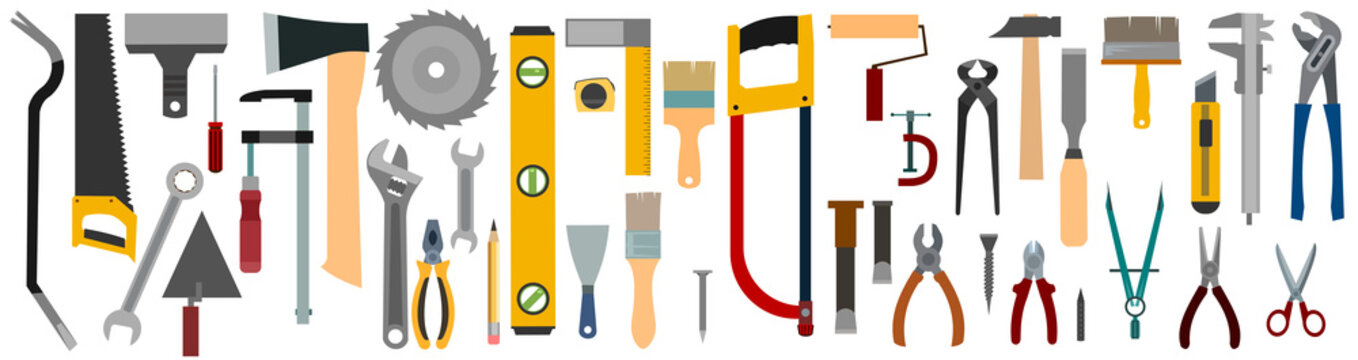 Tools Set. Vector. Isolated on white. Instruments of a carpenter, joiner, locksmith, handyman. Flat style. Rent, sale. Background