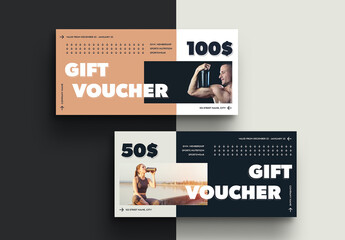 Modern Gift Voucher Layout with Arrow Elements