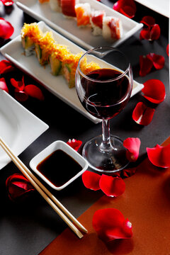 red wine in a Japanese restaurant