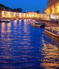 Night Saint Petersburg, boats, canal