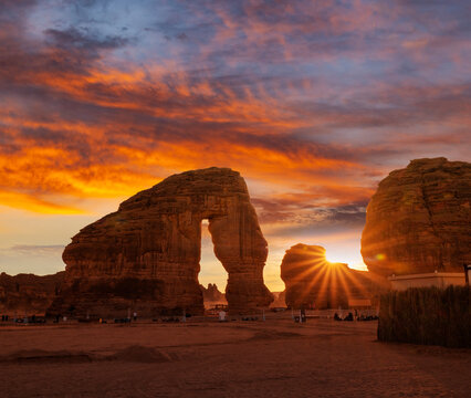 Elephant rock outcrop geological formation at Sunset near Al Ula, Saudi Arabia