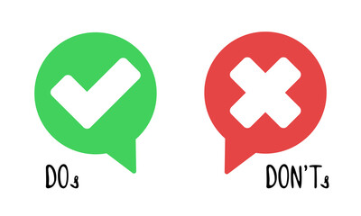 Do and Don't simple icons, vector elements. Check mark and cross in speech bubbles, used to indicate rules of conduct or response versions.