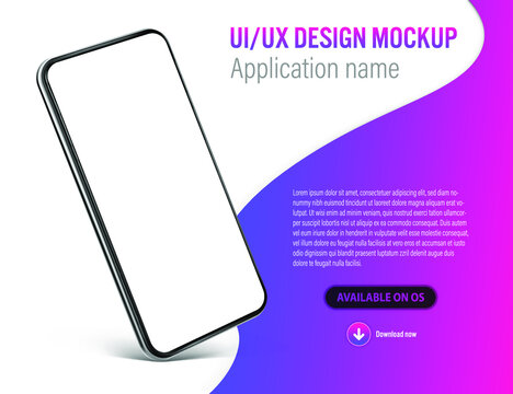 UI or UX smartphone mobile app template with application describtion and download link