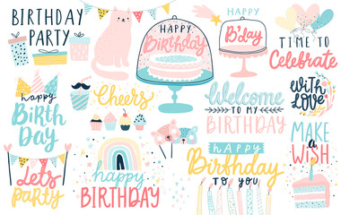 Wall Mural - Happy Birthday lettering set. Hand drawn letterings and other elements - cakes, gifts, masks, candles, balloons.