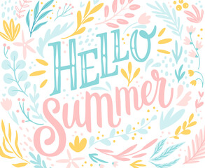 Wall Mural - Hello Summer lettering design with floral elements - hand drawn