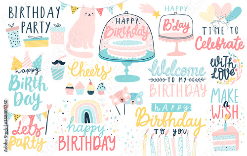 Wall mural Happy Birthday lettering set. Hand drawn letterings and other elements - cakes, gifts, masks, candles, balloons.
