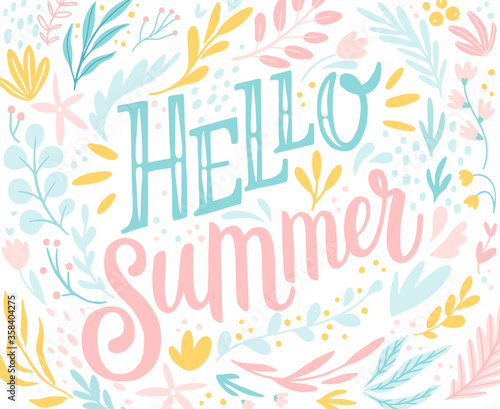 Wall mural Hello Summer lettering design with floral elements - hand drawn