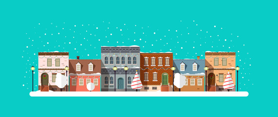 Wall Murals Green coral Flat winter city landscape with snow and christmas decorations.