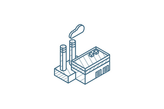 manufacture, industrial factory building isometric icon. 3d line art technical drawing. Editable stroke vector