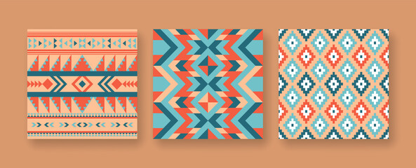 Abstract native american seamless pattern set