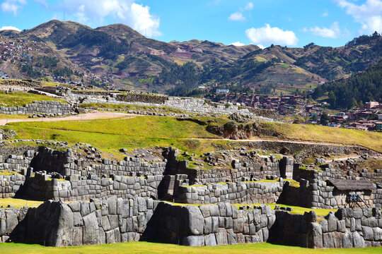 Walls in Sacsayhuaman an ancient  citadel above the city of Cusco, Peru