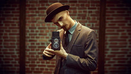 photographer man with retro camera