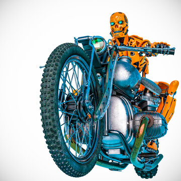 android is riding a motorcycle portrait