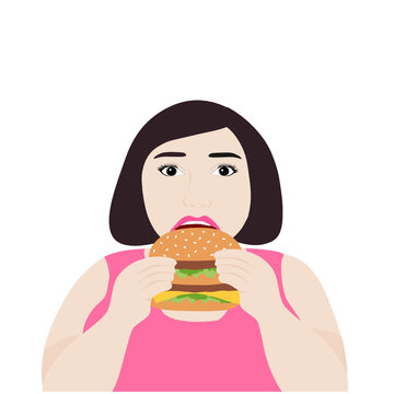 Fat woman eating hamburger isolated on white background vector illustration. Fast food concept