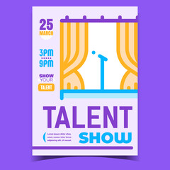 Talent Show Creative Promotional Banner Vector. Microphone On Concert Stage, Music Vocal Or Stand-up Show Advertising Poster Invitation. Concept Template Stylish Colorful Illustration