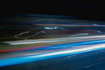 Speed. Speedy color lines, fast lines in the night, velocity.