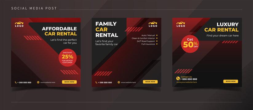 Family car rental banner for social media post template