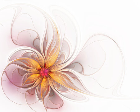 Beautiful openwork fractal flower on a white background. Fantasy