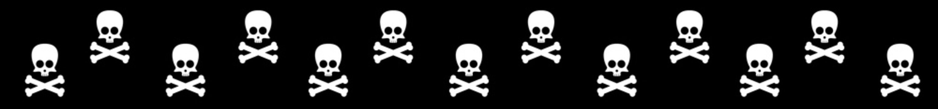 Long web seamless banner with cute skull and crossbones silhouettes on black background. Vector illustration.
