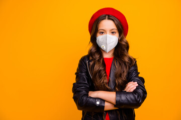 Close-up portrait of nice attractive fashionable healthy girl wearing safety n95 mask stop...