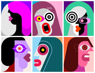 Door stickers Abstract Art Six Portraits modern art vector illustration. Composition of six different abstract images of human face.