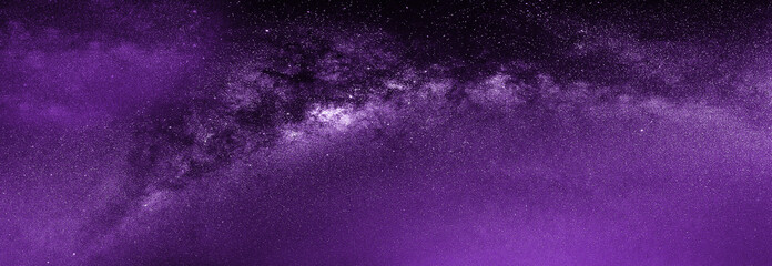 Photo sur Toile Violet purple dramatic galaxy night panorama from the moon universe space on night sky