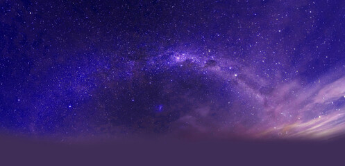 Fototapeten Violett purple dramatic galaxy night panorama from the moon universe space on night sky