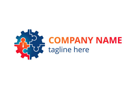 HR company logo template - Human resources or team work (working solutions)  - circular emblem with people, puzzle and gears associations