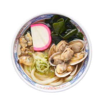 Asari Udon, Japanese littleneck clams in udon noodles soup, isolated on white background with clipping path
