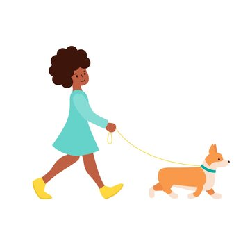 Happy african-american woman walking with dog corgi. cute illustration for creating a romantic mood. Illustration of articles for pet owner, pet stores, dogsitter. Graphics in flat style