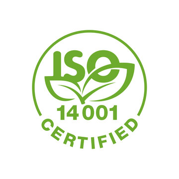 ISO 14001 certified stamp - environmental management system international standard approved sign  - isolated vector icon
