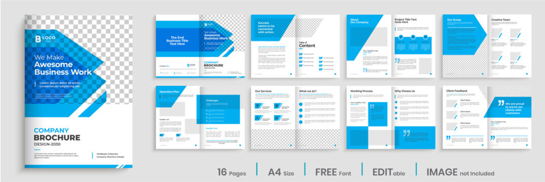 Brochure template design with blue modern shapes, 16 page, corporate, minimal business brochure template design.