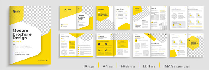 Corporate multipage brochure template layout design, minimalist business profile, 16 pages, annual report, multipage brochure design.