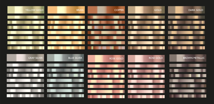 Metal gradient. Color set. Metallic collection. Gold, silver, pearl, bronze palette. Color collection. Steel, aluminium, tin. Holographic background. Chrome texture. Chromium polish effect.