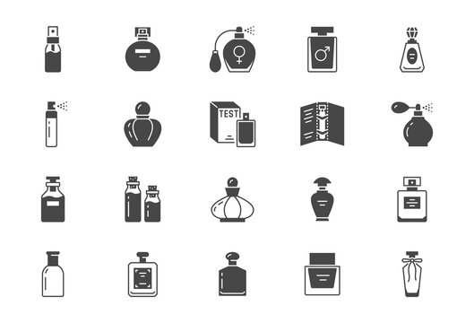 Perfume bottles flat icons. Vector illustration included icon as glass sprayer, luxury parfum sampler, essential oil, cologne parfum black silhouette pictogram for cosmetic store