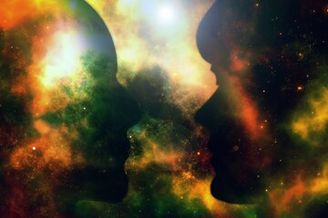 Illustration of a couple facing each other with a background of the galaxy